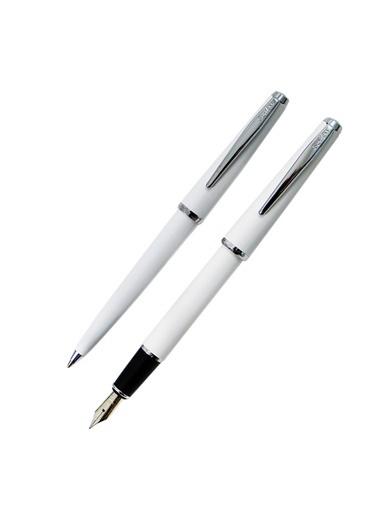 Scrikss 33 Dolma Kalem ve Tükenmez Kalem Lüks Kutuda Beyaz Renkli